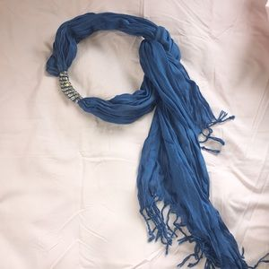 Blue Scarf with silver accent